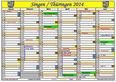 Vorschau Kalender 2014